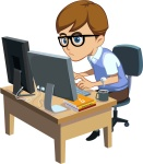 White Male Programmer at a Desk